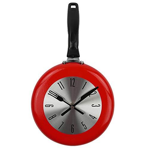 yaoyao Wandklok Kinderkamer 8 Inch Koken Pan Ontwerp Opknoping Wandklok Keuken Metalen Horloge Saat Voor Nieuwigheid Art Woonkamer Decoratie Zwart/Wit/Rood Voor Office School Kinderkamer