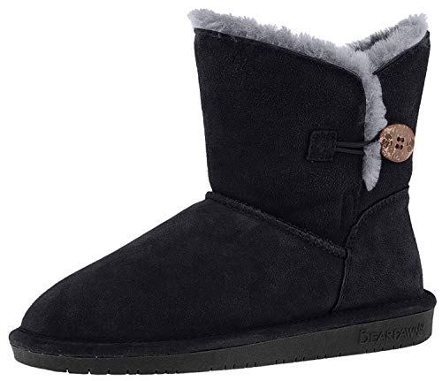 Bearpaw Women's Rosie Winter Boot, Black/Grey, 7.5