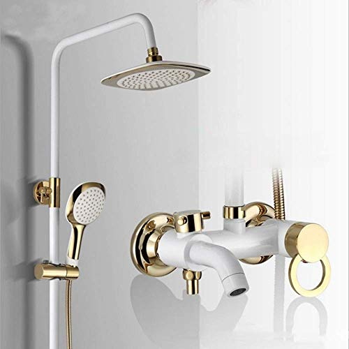 Check Out This Man-hj Hand Shower TopSprayShowerSystem3ModesWhiteGoldDoubleLiftHouseholdBrassShowerF...