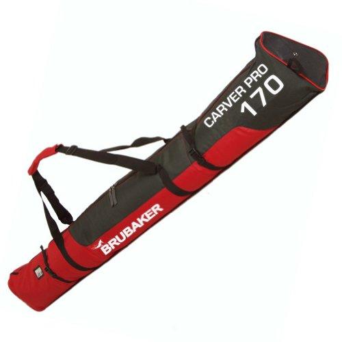 BRUBAKER Padded Ski Bag Skibag Carver Pro 2.0 with Strong 2-Way Zip and Compression Straps - Red Black - 74 3/4