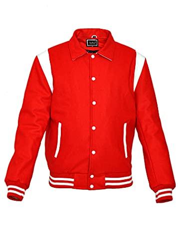 Très Chic Varsity College Letterman - Giacca in lana con inserti in vera pelle Rosso S