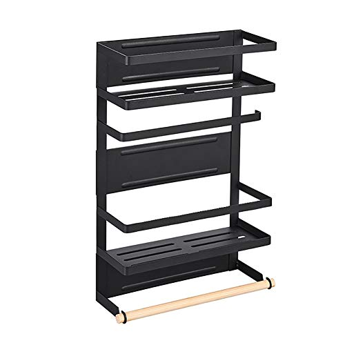 Badkamer Plank van de Muur, Multifunctioneel Handdoekrek, Keuken Storage Rack, Wit/zwart Huishoudelijke Metal Shelf, geen behoefte aan Punch (Color : Black, Size : L)