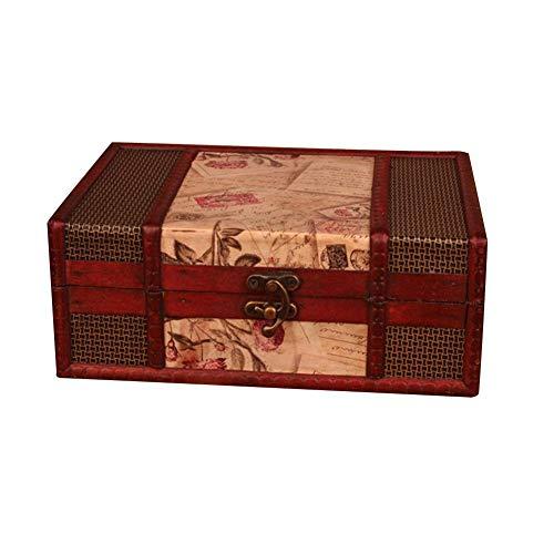 Contenedor de almacenamiento Vintage Desktop Book Organizer Container Estilo clásico europeo Impresión en cuero Caja de almacenamiento de madera real Caja de almacenamiento de joyería de la Biblia