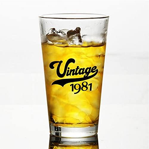 Vintage 1981 Craft Vasos de cerveza personalizados, vaso de cerveza de pinta de 16 onzas ideas para el día de la independencia, papá, mamá, marido, esposa, padrino presente.