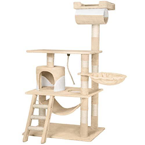 TecTake Arbre à chat griffoir grattoir geant | avec hamac et tunnel | hauteur 141 cm - diverses couleurs au choix - (Beige Blanc | No. 402280)