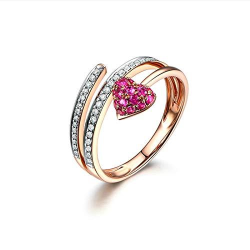 Daesar Damen Ring 18K Rotgold 750 Herz mit Rubin 0.33ct Hochzeitsring Verlobungsring Diamant Große 49 (15.6)