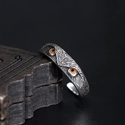 DOOLY Anillos de búho de Ojo de Cristal Azul de Plata de Ley 925 para Mujeres y Hombres, diseño Original, Anillo de pájaro Punk Vintage, joyería de la Amistad