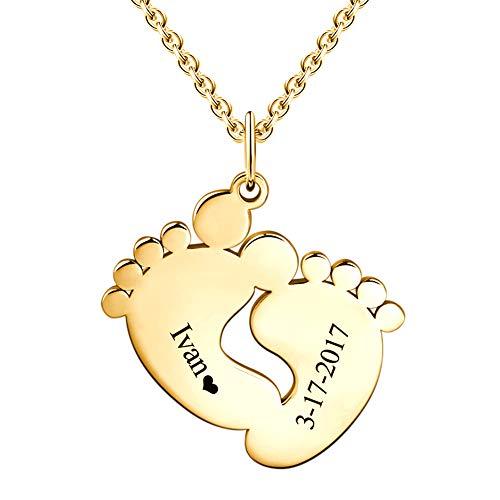 SOUFEEL Collar Nombre Personalizado Colgante Plata de Ley Huella de Bebe Cadena Ajustble Chapado Oro 14K