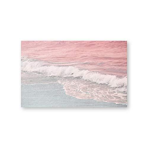 Beach Coastal Surf Wave Erröten Rosa Blau Ozean Wandbilder Familienzimmer Kunst Wanddekoration 30x40cm
