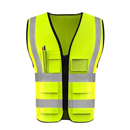 DBL Reflektierende Sicherheitsweste Leichte und atmungsaktive Arbeitskleidung mit mehreren Taschen for Reisen bei Nacht Sicherheit Warnweste Sicherheitswesten