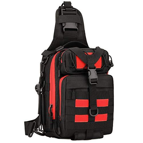 Huntvp Taktische Brusttasche Militär Schultertasche Wasserdicht Sling Rucksack Crossbody Bag Multifunktion für AngelnSport Camping Radfahren Outdoor, Typ-3 Schwarz+Rot