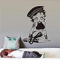 黒のステッカーアートビニールウォールステッカー女の子の子供部屋の漫画のウォールステッカー家の装飾ビニールウォールステッカーDiy壁紙壁画アート