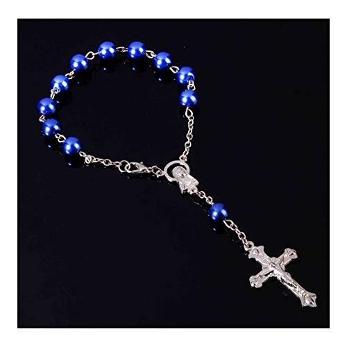 AdorabFruit Jesucristo 12 Perlas de Cristal Pulsera católica Rosada al por Mayor Rosario imitación comunión Bautismo Mini Rosario católico (Color : Jesus Cross Pendant, Size : Blue)