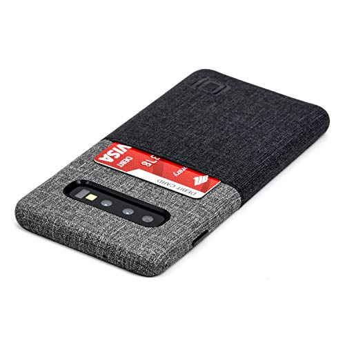 Dockem Luxe N1 Samsung Galaxy S10 Wallet Case: Ultra Slim One Slot Card Case, Synthetic Leather with UltraGrip Twill Canvas Styling [Black & Grey]