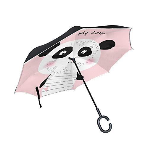 SKYDA Paraguas Plegable con diseño de Oso Panda y Texto en inglés My Love, Doble Capa, Resistente al Viento, para la Lluvia y el Aire Libre, con Mango en Forma de C