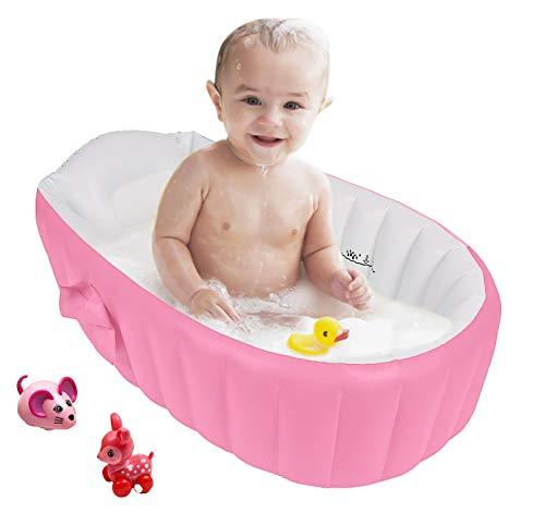 Vaschetta Bagnetto Gonfiabile per Vasca da Bagno Pioggia Pieghevole da Viaggio per Bambini (Rosa)
