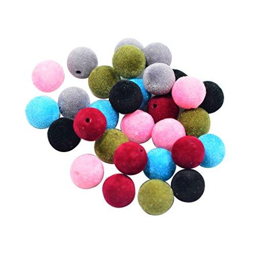 30pcs Perline Beads Perla Charms di Floccaggio Feltro per Creazione Gioielli Fai Da Te - 14mm