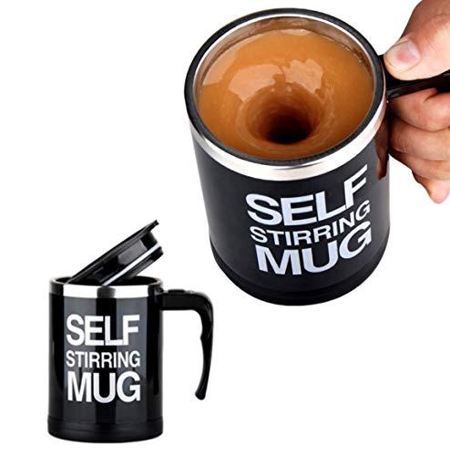 Selbstrührender Becher Selbstrührende Tasse für Heißegetränke | Kaffeetasse Kaffeebecher mit Griff und Deckel | Kaffeetasse batteriebetrieben | mischender Becher - 350ml | Thermosbecher mit Quirl