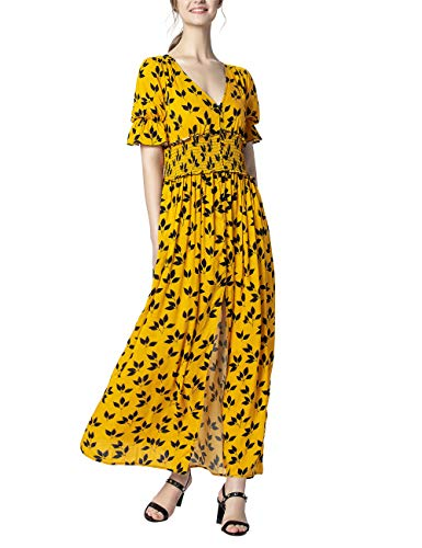 APART leichtes Damen Kleid lang, Maxikleid, Sommerkleid, gelb mit schwarzem Print, durchgeknöpft, gesmokte Taille, lässiger Chic
