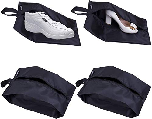 4 Portable Nylon Travel Shoe Bags Dust-proof Storage Organiser with Zipper Closure for shoes, trainers, heels, Black