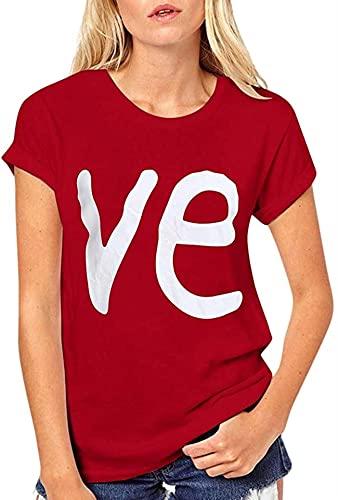 T-Shirt für Damen, kurzärmelig, Rundhalsausschnitt, mit Schriftzug 'Love Letter', Freizeit-Tuniken Gr. Small, rot