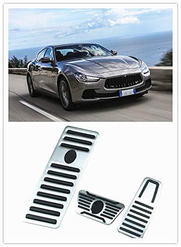 For Maserati Ghibli Quattroporte Accessories 2014-2018 Aluminum Non-Slip Metal Rubber Brake Foot Car Gas Pedal Cover Set Kit 3pcs Automatic Transmission