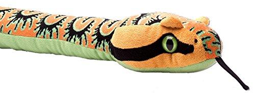 Lashuma Kuscheltier Schlange Farbe Orange Grün, Snakesss Stofftier Python, Große Flauschige Kuschelschlange 137 cm