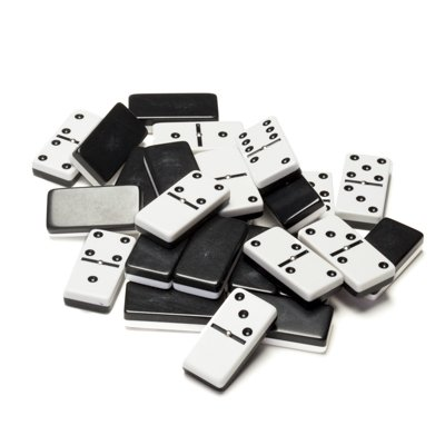 WE Games TwoToned Black amp White Double 6 Dominoes with Spinners  Club Size
