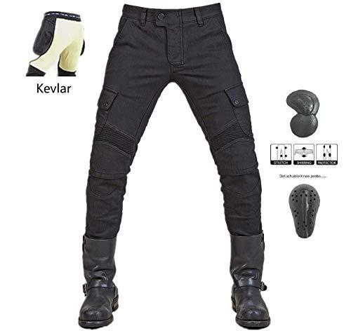 """WCCI Vaqueros de moto para hombres - Kelvar - Protección Aramid Motocicleta Pantalones Biker Pants (Negro, XXL=38.5"""" (100cm waist))"""