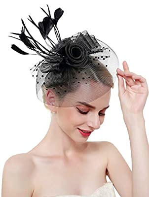 Z&X Sinamay Fascinator Feather Mesh Flower Derby Hat with Clip and Headband