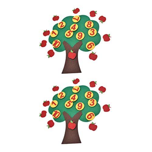 NUOBESTY 2 Juegos de Juguetes Educativos de Árboles Frutales de Fieltro Y Juguetes a Juego de Números Montessori Juguetes de Conteo de Matemáticas para Niños Aprendizaje de Regalo de