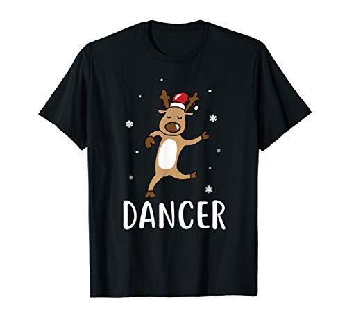 Dancer Reindeer Girl Dancing Pink Christmas Holiday Tshirt T-Shirt