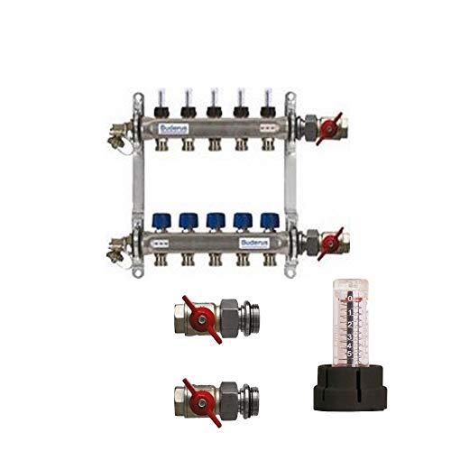 Buderus Heizkreisverteiler Fußbodenheizung HVE-FD-AK mit Durchflussmengenmesser für 2 bis 16 Heizkreise, Heizkreise/Baulänge:4 HK / 400 mm
