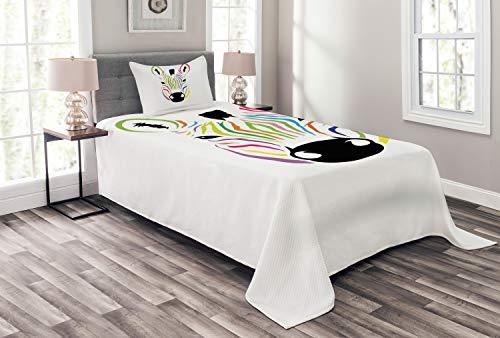 ABAKUHAUS Zebra Tagesdecke Set, Bunte exotische Lustig, Set mit Kissenbezug Romantischer Stil, für Einzelbetten 170 x 220 cm, Multicolor