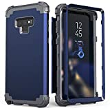 Galaxy Note 9 Case, Note 9 Case Blue for Men, IDweel 3 in 1 Shockproof Slim Hybrid Heavy Duty Protection Hard PC Cover Soft Silicone Rugged Bumper Full Body Case for Samsung Galaxy Note 9, Blue