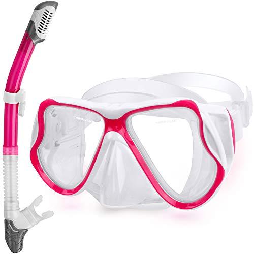 QcoQce 2019 Trocken Schnorchelset,Anti-Fog und Panorama-Weitblick Tauchmaske,Leichtes Atmen und Professionelle Schnorchelmaske mit Weichen Mundstück,Schnorchel Set für Erwachsene (Rosa)