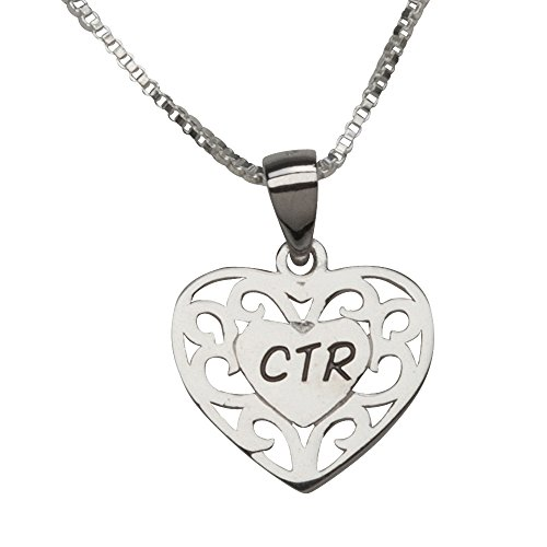 Sterling Silver CTR Heart Necklace for Girls Baptism (14 inch)