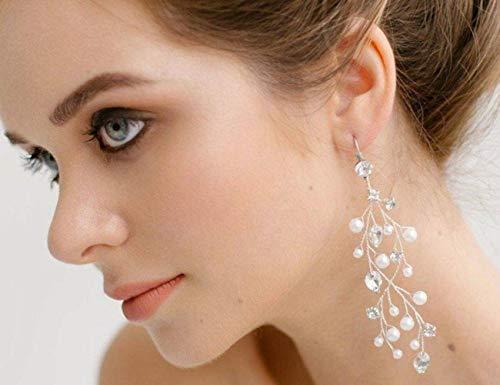 BERYUAN Juego de pendientes colgantes de diamantes de imitación para mujer, con diseño de hoja de cristal y perla para mujer, regalo de boda para novia y niñas (oro)