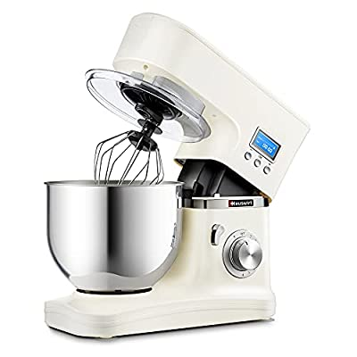 Hauswirt Stand Mixer, 5.3Qt Tilt-Head Electric Kitchen Tool with Timer, 8 Speeds & Pulse, Planetary Mixing, Includes Stainless Steel Metal Dough Hook, Flat Beater, Wire Whip, Pouring Shield - White from Hauswirt Baking