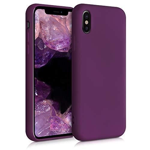 kwmobile Cover Compatibile con Apple iPhone X - Custodia in Silicone Effetto Gommato - Back Case Protezione Cellulare - Viola Bordeaux