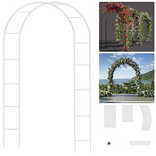 EXLECO Rosenbogen 240x140x38cm Gartenbogen Metall Stahlrahmen Pavillongestell Torbogen Garten für Kletterpflanzen wetterfest Gartendekoration | Weiß