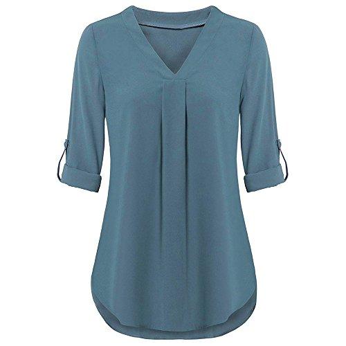 iYmitz Damen Solide Langarm Knopf Bluse Pullover Tops Shirt Mit Taschen(X5-Himmelblau,EU-36/CN-M)