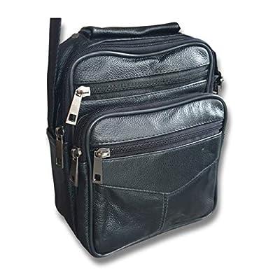Sacoche en cuir à bandoulière - Sac de rangement 3 poches - Qualité premium - Amovible - Pratique - Besace homme avec fermeture éclair pour transporter toutes sortes d'affaires facilement
