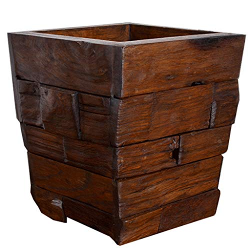 ZANZAN Poubelles Wood Design déchets Dustbins, Ferme Rustique Style Wastebasket Bin, 1.0 Capacité Gallon, for Chambre, Salon (8.6x8.6x9.8 Pouce) Corbeilles à Papier