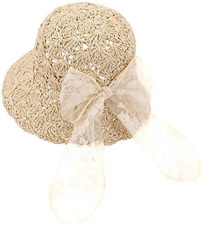 Baby Girls Foldable Straw Hats Toddler Kids Floppy Summer Straw Sun Hat with Bowknot Wide Brim product image
