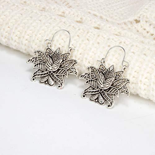 Earrings for Women for Anniversary Vintage Bohemian Openwork Lotus Heart Flower Basket Metal Ms. Earrings Cuff & Wrap Earrings for St.Patrick's Day in (Silver)