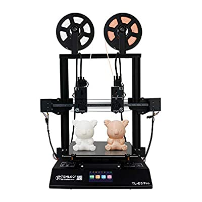 Tenlog TL-D3 Pro 3D Printer, Independent Dual Extruder 3D Printer with 4.3'' Touch Color Screen and UL Certified Power Supply Support PVA TPU ABS PLA,Direct Feed FDM DIY Printer 11.8''x11.8''x13.8''