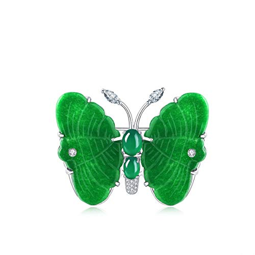 Lotus Fun S925 Sterling Silver Brooch Simple Mosaic Chalcedony Butterfly Optimised Jade Brooch Personality Temperament Jewellery for Women and Girls