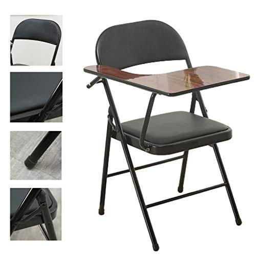Président Klappstühle Folding Ausbildung Stuhl Meeting Stuhl Mit Schreibplatte Stuhl Mit Kleinem Tisch Platte Dick Und Atmungsaktiv Bequeme Bürostuhl (Color : Black, Size : 45 * 45 * 80cm)