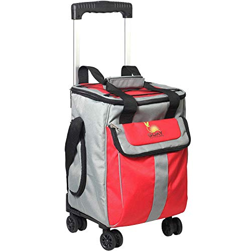 Guay Outdoors New and Improved Trolley Cooler Bag - Removable Leak-Proof Soft Chiller - Thermal Insulated with Swivel Wheels - Telescopic - Small 36 Cans Capacity - Picnic Camping Beach and Travels